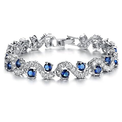 OPK Jewellery Women Platinum Plated Shiny Cubic Zirconia Tennis Bracelet Luxury Wedding Party Jewelry, 6.69