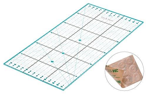 Guss & Mason Patchwork Lineal 30x15cm mit gratis Anti Rutsch Aufklebern. Transparentes Universal Lineal mit cm und Winkel-Maßen