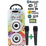 DYNASONIC Altavoz Bluetooth portatiles con Karaoke 025-1 10W, 2 Micrófonos incluidos, Radio, Lector USB y SD (Modelo 1, 2 Micrófonos)