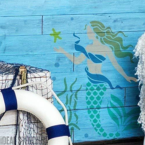 Meerjungfrau Schablone Badezimmer Schlafzimmer Nautisch Meer Thema Dekoration Farbe auf Wände und Auch Individualisieren Stoffe, Textilien & Möbel Wiederverwendbar - M/ 26X33CM (Dekorationen Thema Nautische)