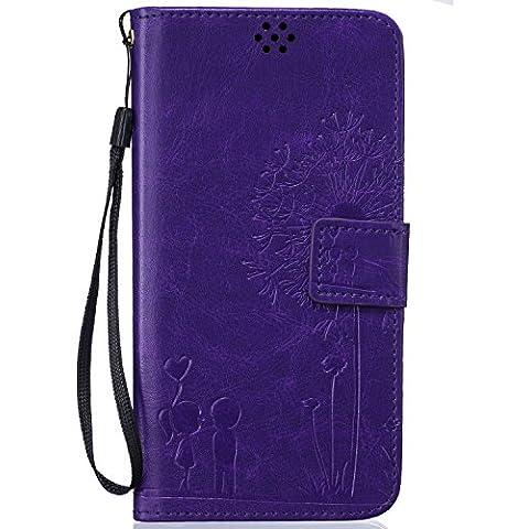 Beiuns Funda de PU piel para Xiaomi Redmi Note 3 / Note 3 Pro (5,5 pulgadas) Carcasa - TX527 púrpura