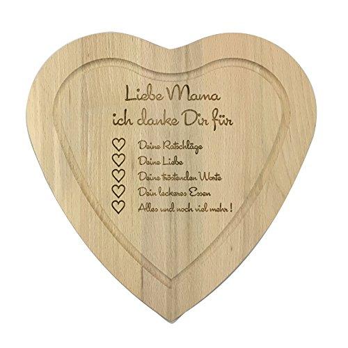 """Laser tattoo, tagliere a cuore in legno, con incisione """"liebe mama ich danke dir für"""", regalo ideale per la festa della mamma (versione tedesca) (lingua italiana non garantita)"""