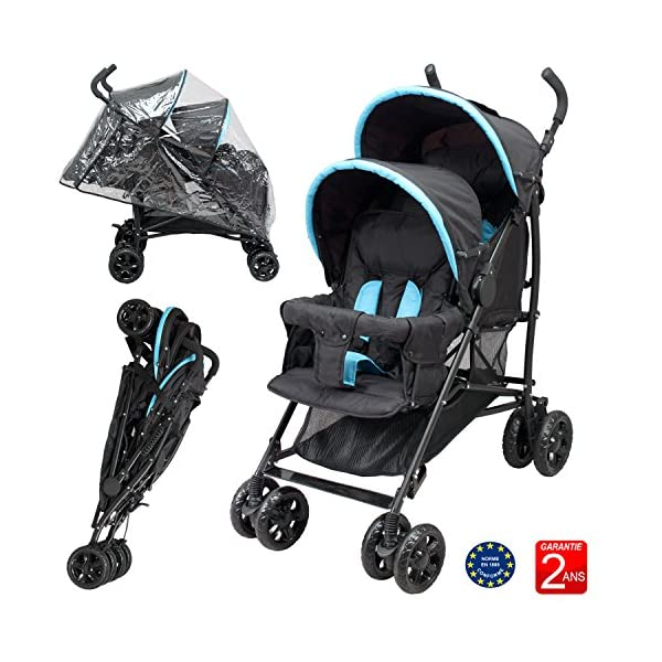 Double Buggy for Children of Similar Age Bebeachat Rear seat: use from birth to 36 months. Front seat: use from 6 to 36 months. Multi-position front and rear seats. 5-point safety harness. The 2 canopies are removable. Window and pocket on the back canopy. Protective apron on front and back. 1
