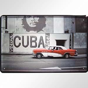 kuba motiv mit che und classic car blechschild. Black Bedroom Furniture Sets. Home Design Ideas