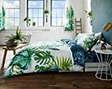 Duvet Cover Set Double With Pillowcases Quilt Bedding Set Reversible Poly Cotton , Tropical Leaf Double