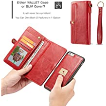 CaseMe Carcasa de cuero para el teléfono con monedero a presión, folio extraíble, ranuras para tarjetas ocultas, soporte de anillo magnético iPhne 6 Plus Red