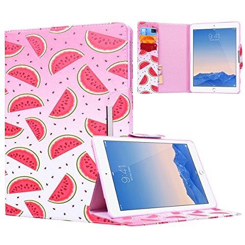 Yokata Apple iPad Air 2 / iPad 6 Hülle Case Schutzhülle Tasche mit Standfunktion und Auto Sleep / Wake Up Funktion Slim Ultra Dünn Hochwertiges PU Leder Etui Ledertasche für iPad Air 2 / iPad 6 (9,7 Zoll) Tablet Etui - Wassermelone