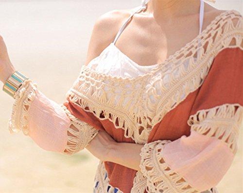 L-Peach Donna Crochet Copricostumi Parei per Costume da Bagno per Spiaggia V-collo Bikini Cover Up Taglia Unica Arancione