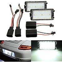 MASUNN 2 x 18 LED placa de matrícula luz para SEAT Altea Arosa Cordoba Ibiza blanco
