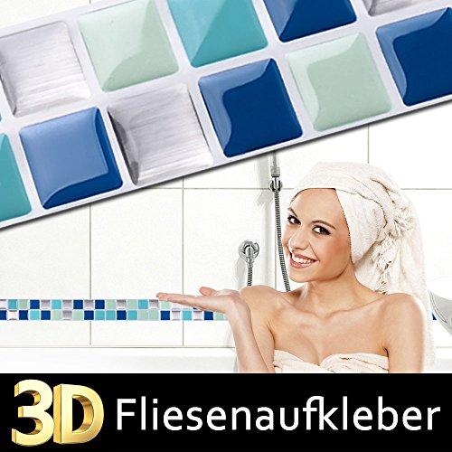Wandaro 7er Pack 25,3 x 3,7 cm Fliesenaufkleber blau türkis Silber I Selbstklebende 3D Mosaik Küche Bad Fliesendekor Fliesen Aufkleber Wandtattoo W3351