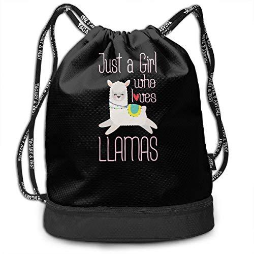Nur EIN Mädchen, das Lamas Drawstring Rucksack für Herren und Damen, 100% Polyester Original Seesäcke liebt