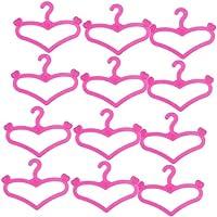 12x Perchas De Ropa Accesorios Para Barbie Muñeca Corazón 2 3/8 Pulgadas Rosa