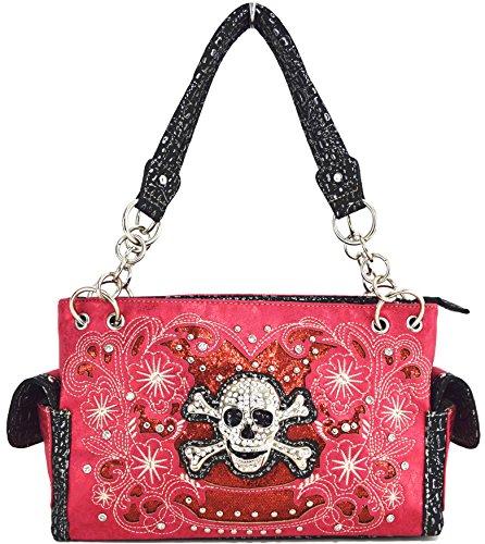 Blancho Biancheria da letto delle donne [scheletro] borsa dell'unità di elaborazione di cuoio di modo elegante Borsa fucsia Handbag-Fuchsia