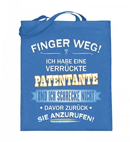 Hochwertiger Jutebeutel (mit langen Henkeln) - FINGER WEG - PATENTANTE Blau