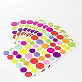 Stickerpunkte Runde Aufkleber 324 Etiketten auf 6 Blättern Bunte...