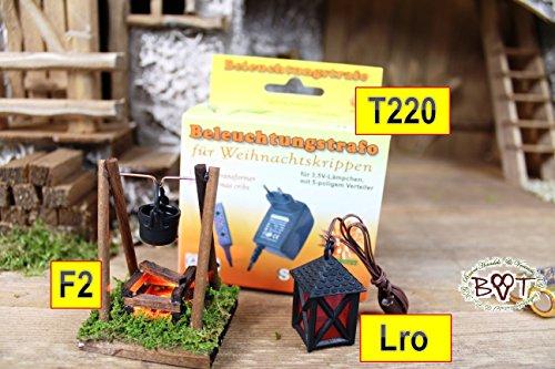 enbeleuchtung mit Laterne + Trafo für Weihnachtskrippe,Beleuchtungs-Set 7tlg., 220V / 3,5 V,Krippenzubehör Krippe,F2-Tlro-BVT-rote Lampe + Lämpchen (Nussknacker-kit)