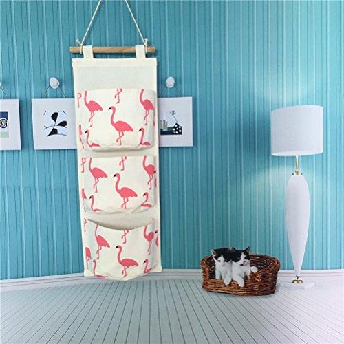 Preisvergleich Produktbild Inwagui Hängeorganizer Hängende Kombination mit 3 Tasche Wand Tür Wandschrank Speicher Beutel Baumwolltuch Hängeaufbewahrung - Flamingo A