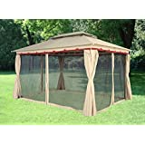 Greenbay 3x4M Deluxe Metal Pavilion Gazebo Awning Canopy Sun Shade Screen Shelter