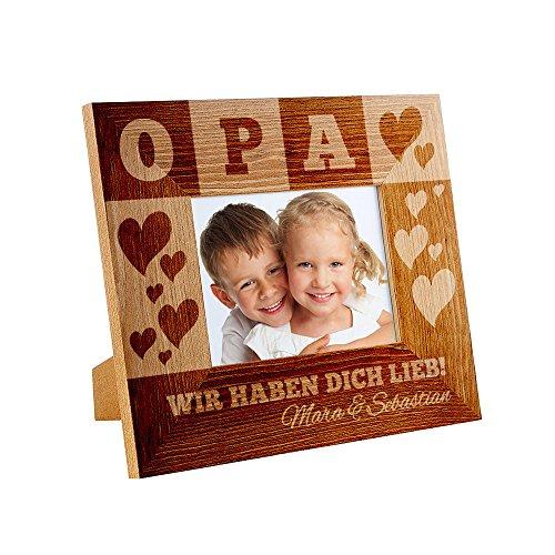 derrahmen mit Gravur für Opa – Personalisiert mit Namen – Rahmen aus Holz – Vatertagsgeschenk – Geburtstag – Geschenk für Männer ()