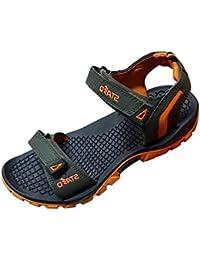 STAED Men's Black & Orange Rexine Casual Sandal, Size : 8