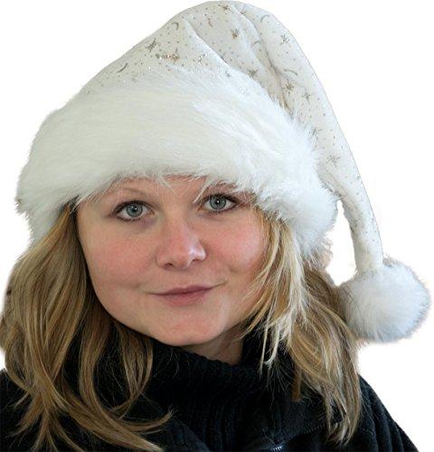 Weihnachtsmütze Nikolausmütze mit Pelzrand und Glitzer in verschiedenen Farben Farbe Weiß (Weiße Nikolausmütze)