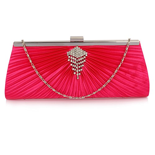 LeahWard Damen Stoff Sparkly Diamante Clutch Taschen Abendtaschen für Hochzeit Braut 00221 (SCHWARZ KRISTALLKUPPLUNG) PINK SATIN KUPPLUNG