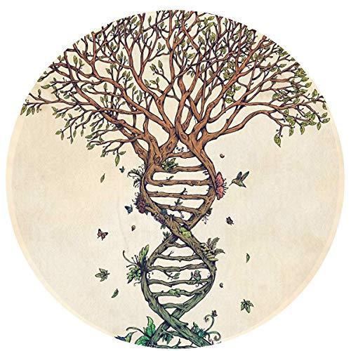Bai Qian DNA Helix Tree Runde Fußmatten Coral Velvet Memory Foam Boden Fußmatte, rutschfeste Eingang wasserdichte Teppiche 23,6 Zoll Durchmesser Runde Teppiche für Büro -