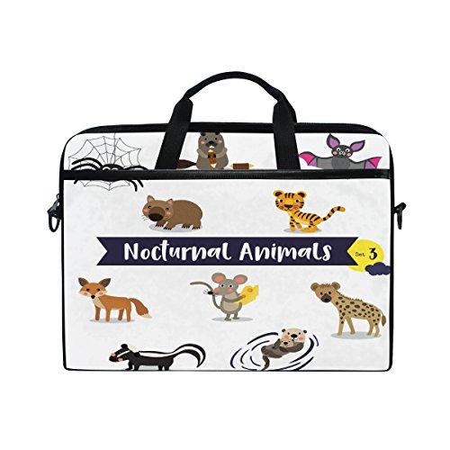 Otter-laptop-tasche (Ahomy 14-15 Zoll Laptop Tasche Otter Spider Bat Mouse Tiger Fox Canvas Stoff Laptop Tasche Bussiness Handtasche mit Schultergurt für Damen und Herren)