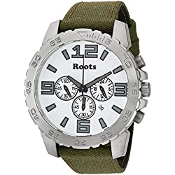 Roots Men's 'Core' Quartz Stainless Steel and Canvas Casual Watch, Color:Green (Model: 1R-LF604WH6G)