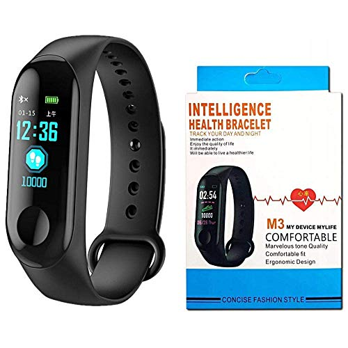 CaptoFit M3 Smart Band Fitness Tracker Watch Heart Rate with Activity Tracker Waterproof Body Functions Like Steps Counter, Calorie Counter, Blood Pressure, Heart Rate Monitor LED Touchscreen
