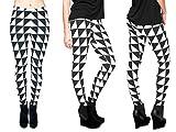 Alsino Leggings Damen Bedruckt Sexy Leggins Ladies mit Print Look Motiv Muster Stretch Legins Hose, wählen:LEG-045 Muster schwarz weiß