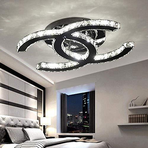 28W LED Deckenleuchte Moderne Einfache Romantische Wohnzimmer Esszimmer K9 Crystal Klar Deckenlampe Elegante Edelstahl Spiegel Lampe Creative Studie Deckenbeleuchtung L53cm*W40cm Dimmbar 3000K-6000K