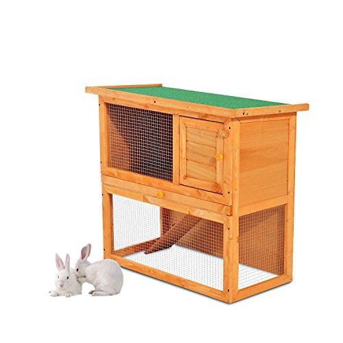 Conejera-Madera-Jaula-para-Conejos-o-Casa-para-Animales-Pequeos-90x45x80cm-rea-de-Juego