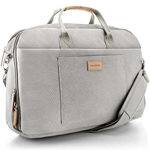 "deleyCON Notebook-Tasche bis 17,3"" Zoll (43,2cm) Laptop Notebook Netbook MacBook Tragetasche Schultertasche Schutztasche Leinengewebe Hellgrau"