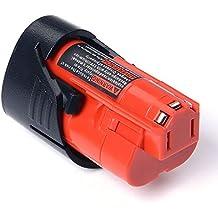 Masione Batería 12V 2.0Ah para Milwaukee M12 48-11-2401 48-11-2402 C12 BX Herramienta Eléctrica