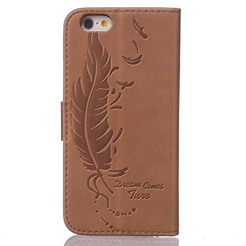 iPhone SE Red,Phone SE Coque en Cuir Folio Etui,Coque Etui pour iPhone 5S,iPhone 5S / 5 Wallet Leather Flip Case Protective Cover,EMAXELERS iPhone 5S Etui de Protection Case Cover PU Cuir Portefeuille marron