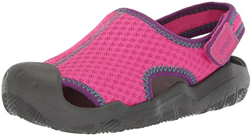 crocs Swiftwater Mesh Sandals Kids, Unisex - Kinder Geschlossene Sandalen, Pink (Neon Magenta/Slate Grey), 32-33 EU (Jungen Wasser Sandalen)