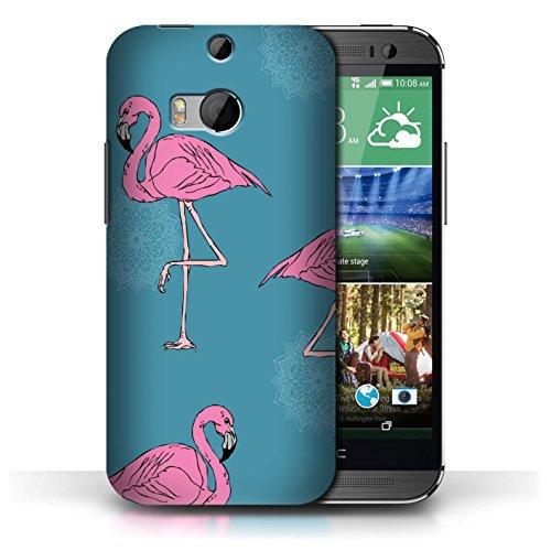 für HTC One/1 M8 / Mandala/Teal Muster/Netter Flamingo Karikatur Kollektion ()