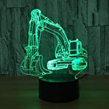 3D Nachtlicht, Nachtlampen, 3D Nachtlicht, Nachtlampe, Bagger Illusion Touch Table Neuheit Car Shape Bedside Boy Gift Weihnachtsgeschenke Geschenke
