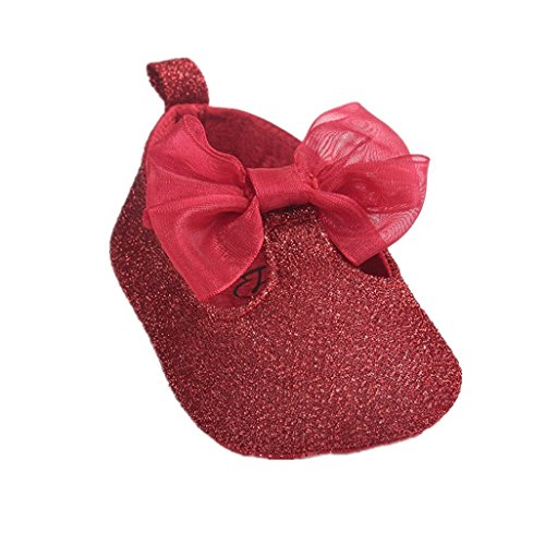 Baby Schuhe Auxma Baby Bowknot Hausschuheonate Weiche Anti Rutsch Schuhe F眉r 0-18 Monate (13 12-18 M, Rosa) Rot