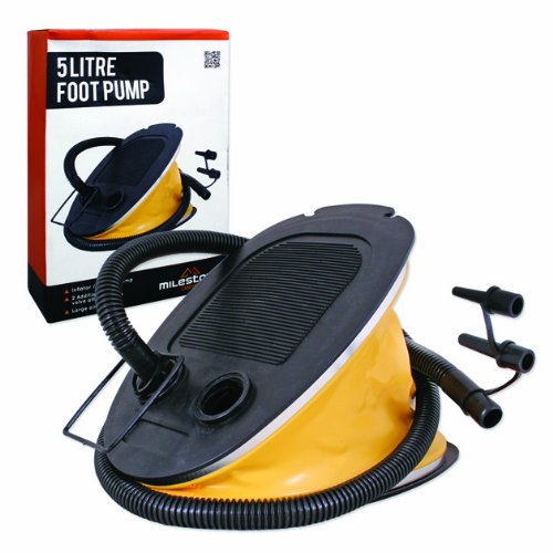 511UzOm9CJL. SS500  - Milestone Camping 85830 Portable Foot Air Pump Inflator Balloon Swimming Ring Inflatable, Yellow, 5 Litres