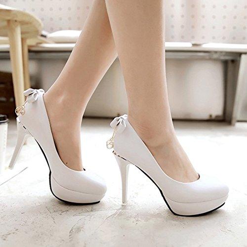 TAOFFEN Femmes Escarpins Soiree Aiguille A Enfiler Plateforme Talons Hauts Chaussures 434 Blanc