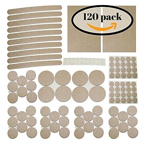 120 Pack. Premium Quality Self Stick Floor Protectors (Furniture Felt Pads) BONUS: 20 noise dampening silicone bumper