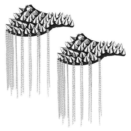 Agoky 1 Paar Schulterklappen mit Quaste Ketten Gliederkette Epaulet Damen Herren Schmuck Prinz Polizei Uniform Kostüm Zubehör Silber mit Nieten One ()