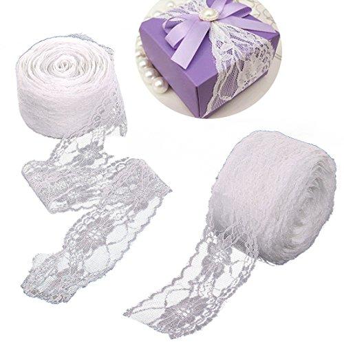 JJOnlineStore–Vintage Weiß Spitze Braut Hochzeit Trim Band Art Craft Geschenk Geschenk Wrap Dekoration Party 60mm/6cm Zoll, Spitze, weiß, 40 Meter