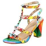 JYshoes Römersandalen Frauen Hoch Schuhe Frauen Sommer T-Spangen Sandalen Damen Knöchelriemchen Sandaletten mit Nieten Mehrfarbig 32.6EU