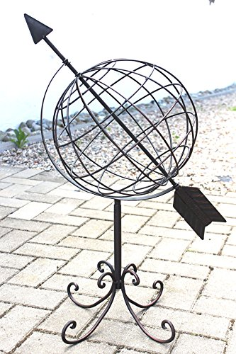 Mappamondo in metallo 101806 Orologio solare in ferro battuto 72cm Orologio da giardino Decorazione da (Metallo Meridiana)