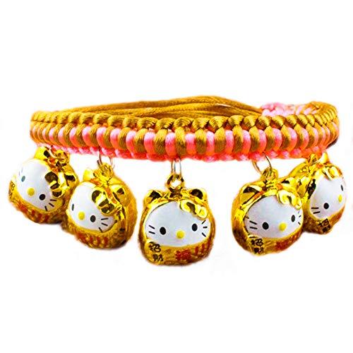 DWhui Haustier Hund/Katze Kragen mit Glocken Multily Designs gewebtes Schlüsselband verstellbare abreißbare Haustier Halsbänder für kleine/mittlere/große Hunde,#4,S