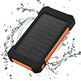 FLOUREON Solar Ladegerät 10000mAh Power Bank Akku Batterie Outdoor Wasserdicht mit Dual USB LED Taschenlampe für iPhone iPad Android-Handy Tablet Smartphones usw (Orange)