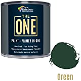 One Paint, un cappotto, multi superficie vernice per legno, metallo, plastica, interno, esterno, verde, in raso, 250 ml